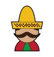 man with sombrero mexico culture icon image vector image vector image