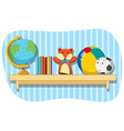 Many toys on shelf vector image vector image