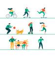modern people outdoor activities flat set vector image
