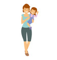 mother carrying her daughter vector image