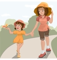 Mother walks with her daughter in the park vector image vector image