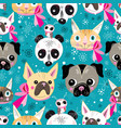 pattern portraits animals vector image vector image