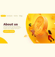 people flying around golden coin money saving vector image