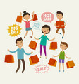 people on sale sell-out shopping concept funny vector image