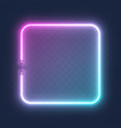 realistic glowing shape neon square frame isolated vector image vector image