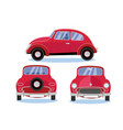 red retro car automobile set in three different vector image