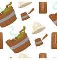 sauna with wooden bucket and leaves seamless vector image vector image