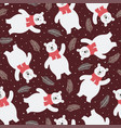 seamless pattern with a cute polar bear vector image vector image