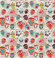 Seamless pattern with colorful owls on cream vector image vector image