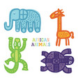 set cute cartoon african animals paintbrush vector image vector image