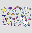 set of cute magic stickers vector image vector image