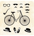 set of the hipster with bicycle vector image vector image