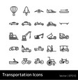set of transportation icons isolated vector image vector image
