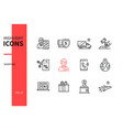shopping concept - line design style icons set vector image vector image