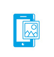 silhouette smartphone technology with picture icon vector image vector image