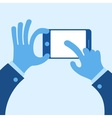 Touch mobile screen in hand concept in blue vector image vector image