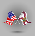 two crossed american and flag of florida vector image