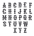 Western alphabet Shadowed grungy and stamped vector image vector image