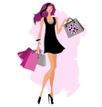 Woman shopping bags vector image vector image