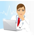 young doctor using his laptop computer vector image vector image