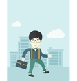 Young man walking through the city street with his vector image