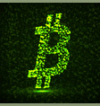 abstract sign bitcoin of glowing particles vector image vector image