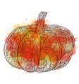 black and white doodle of pumpkin vector image vector image