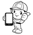 black and white soldier mascot and smartphone vector image vector image