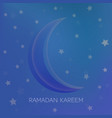 blue background with moon and stars for ramadan vector image