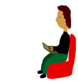 boy sitting in chair behind vector image
