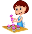 Cartoon woman with apron decorating cupcakes vector image