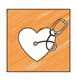 color pencil drawing square frame with heart and vector image vector image