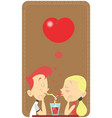 couple in love sipping in the same glass in a vector image