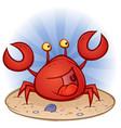 crab cartoon character at beach vector image