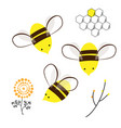 cute bee doodle flowers and honey comb set vector image vector image