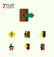 flat icon door set of direction pointer vector image