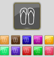 Flip-flops Beach shoes Sand sandals icon sign Set vector image vector image