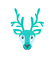 furry north pole deer with long branchy horns vector image vector image