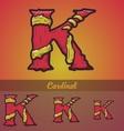 Halloween decorative alphabet - K letter vector image