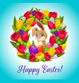 happy easter card with bunny inside flower wreath vector image