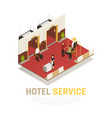 hotel service isometric composition vector image vector image