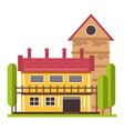 house in countryside with huge balcony on second vector image vector image