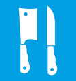 kitchen knife and meat knife icon white vector image