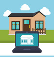 laptop controlling smarthome technology vector image