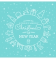 Line Style Christmas and New Year Greeting Banner vector image vector image