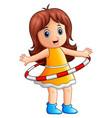 little girl playing hulahoop vector image
