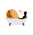 lover fast food man and hamburger in bath guy and vector image vector image
