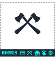 Lumberjack axes crossed icon flat vector image