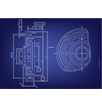 machine-building drawings on a blue background vector image vector image
