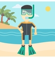 Male scuba diver on the beach vector image vector image